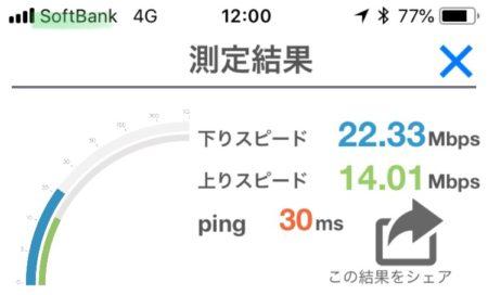ソフトバンク速度測定回線1回目